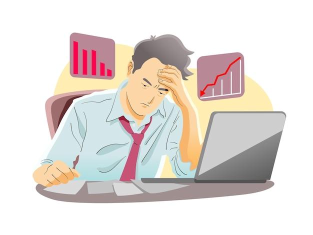 Fallimento. depressione economica e recessione.