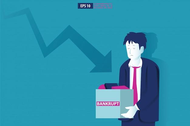 Concetto di illustrazione di fallimento. uomo d'affari con la compagnia rotta. crisi finanziaria globale con il simbolo di diminuzione della freccia. caduta dell'economia, perdita e fallimento
