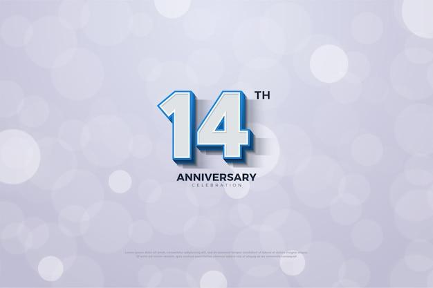 Banner del 14 ° anniversario con numeri delineati blu solidi