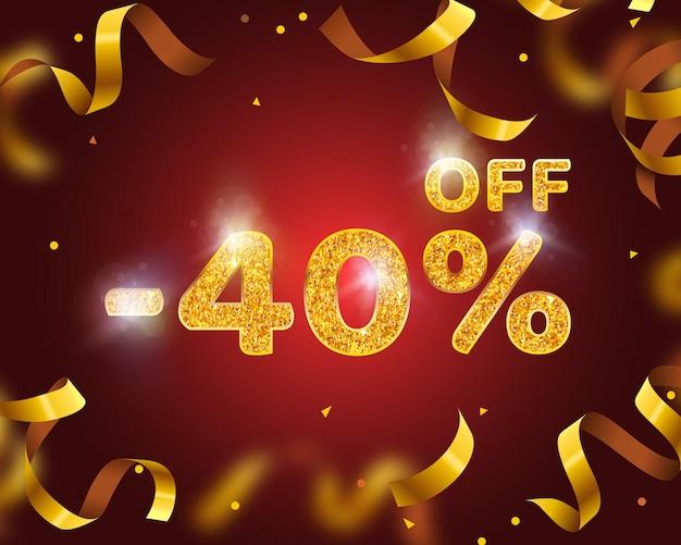 Banner 40 di sconto con percentuale di sconto sulle azioni, gold ribbon fly. illustrazione vettoriale
