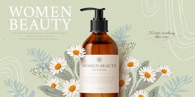 Banner pubblicitario per mockup di prodotti detergenti a base di erbe con camomilla e foglie romantiche disegnate a mano