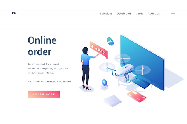 Banner pubblicitario moderno servizio di ordinazione online