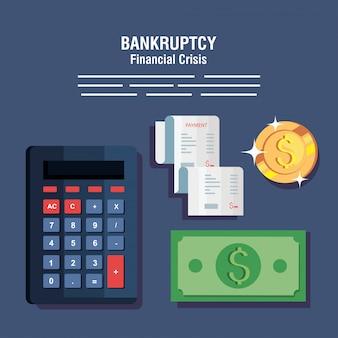 Banner fallimento crisi finanziaria, calcolatrice e icone di affari