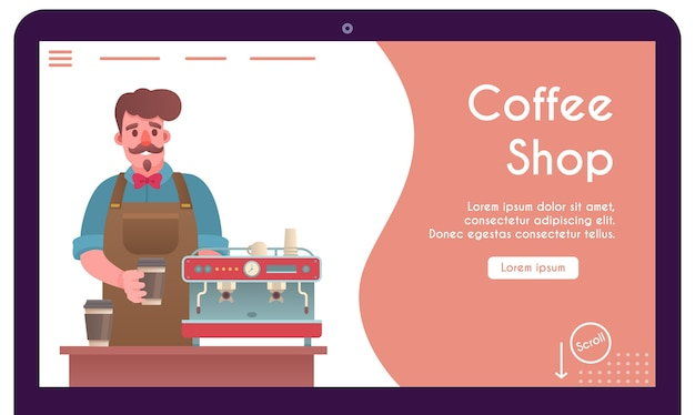 Banner del barista che prepara il caffè in bicchiere di carta. uomo di carattere che prepara bevande da asporto nella macchina per il caffè. banner, sito web, pagina di destinazione per menu per caffetteria