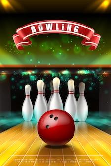 Banner del gioco di bowling con palla rossa sulla corsia e birilli bianchi in fumo al neon.