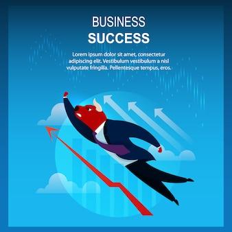 Volo di bull del commerciante di successo di affari dell'insegna