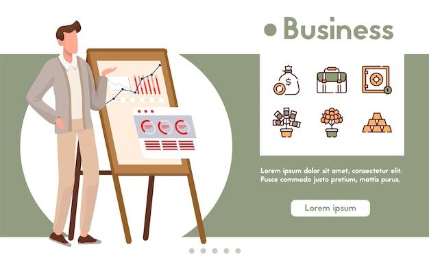 Banner di presentazione dell'uomo d'affari, strategia aziendale, successo finanziario, statistica di crescita. strumenti di gestione, marketing. icona lineare di colore - portafoglio di investitori, depositi, profitto, denaro