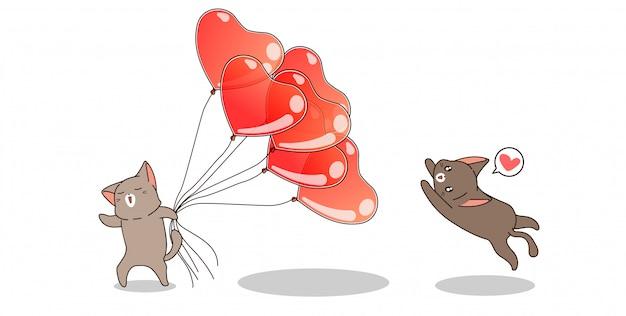Personaggi di gatto banner con palloncini cuore