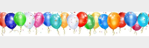 Banner di palloncini colorati, nastri e pezzi lucidi di serpentino su bianco