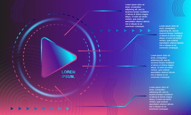 Banner colorato pulsante di riproduzione. sfondo astratto forma plastica e geometrica.