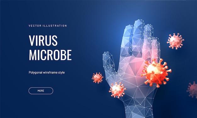 Concetto di banner per coronavirus o pandemia influenzale o inquinamento atmosferico