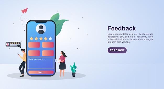Banner concetto di feedback con la persona che ha dato la stella.