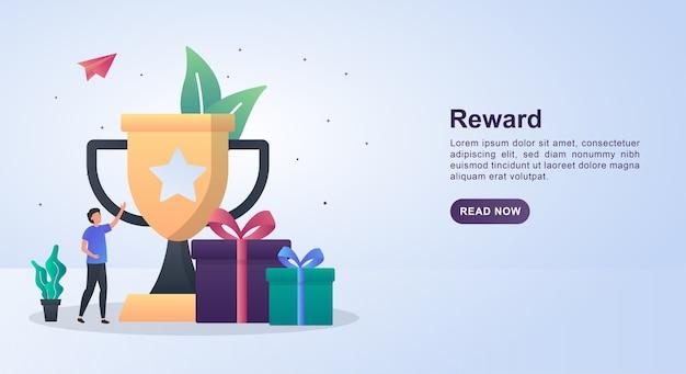 Concetto di banner di ricompensa con grandi trofei e premi.