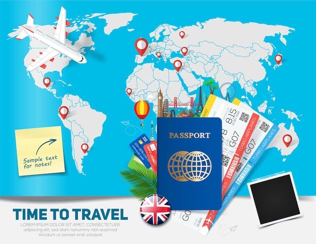 Concetto di banner per viaggi e turismo con passaporto