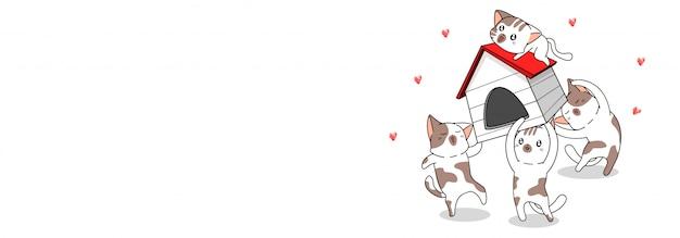 I simpatici personaggi dei gatti sono felici per la nuova casa
