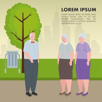 L'insegna della gente anziana sveglia all'aperto, le donne anziane e l'uomo anziano nell'illustrazione del parco progettano