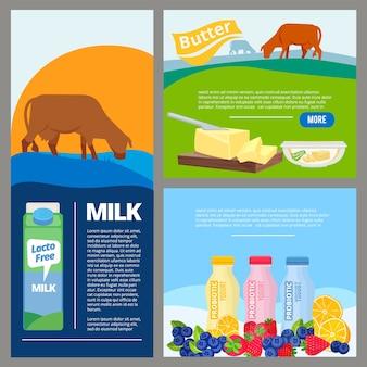 Banner latticini. promozione del latte fresco di fattoria e dei prodotti biologici in bottiglia. latte di fattoria e prodotti lattiero-caseari di alimenti biologici, modello.
