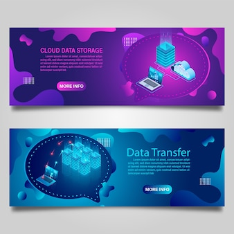 Tecnologia dati banner per affari isometrici