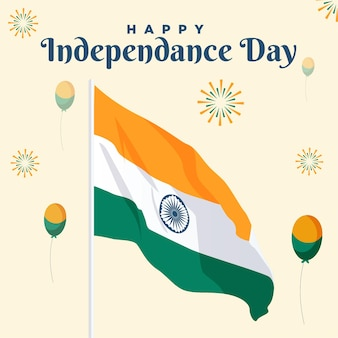 Banner design del modello di giorno dell'indipendenza felice del 15 agosto