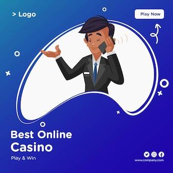 Design di banner dei migliori casinò online in stile cartone animato