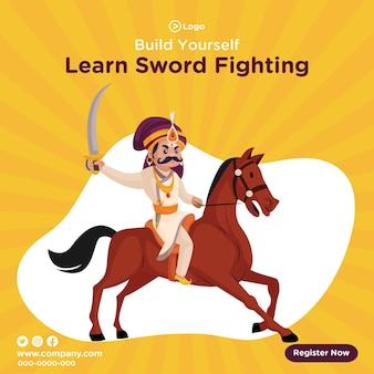 Banner design di costruisci te stesso impara il modello di combattimento con la spada