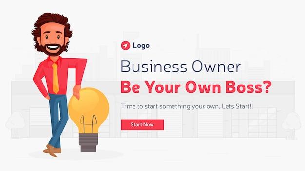 Il design del banner dell'imprenditore diventa il tuo capo