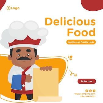 Design della bandiera dello chef che tiene un menu in mano