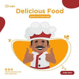 Progettazione della bandiera dello chef che mostra i pollici aumenta il segno con entrambe le mani