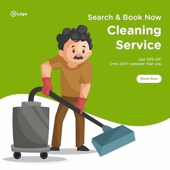 Il design della bandiera dell'uomo delle pulizie sta pulendo il pavimento con un aspirapolvere.
