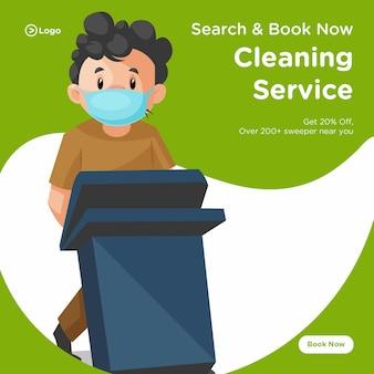 Banner design di uomo delle pulizie che indossa una mascherina chirurgica e che tiene una pattumiera