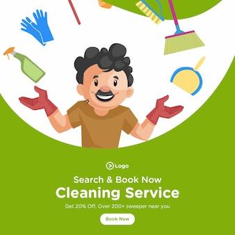 Design della bandiera dell'uomo delle pulizie con attrezzature per la pulizia