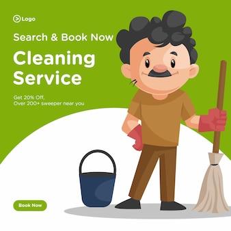 Progettazione di banner di uomo delle pulizie con mocio e secchio