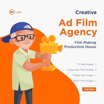 Design del banner dell'agenzia cinematografica pubblicitaria creativa