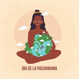 Banner design dell'illustrazione in stile cartone animato dia de la pachamama Vettore Premium