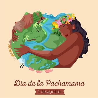 Banner design dell'illustrazione in stile cartone animato dia de la pachamama