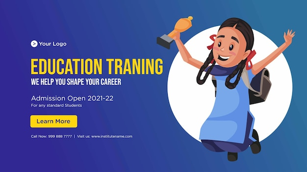 Banner design del modello in stile cartone animato di formazione educativa