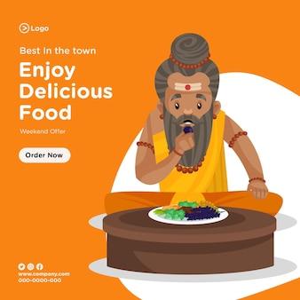 Design di banner per gustare cibo delizioso nell'offerta del fine settimana
