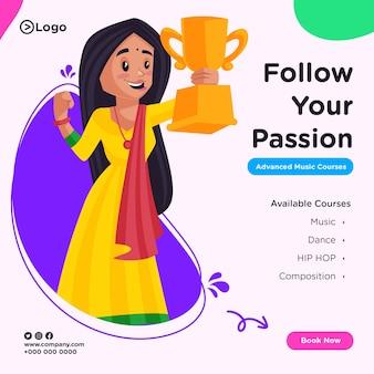 Banner design di seguire la tua passione in stile cartone animato illustrazione