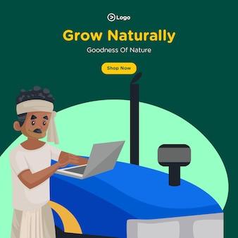 Banner design di crescere naturalmente e bontà della natura