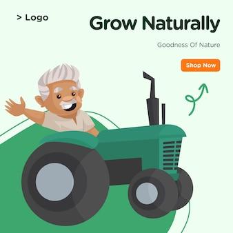 Banner design di crescere naturalmente modello