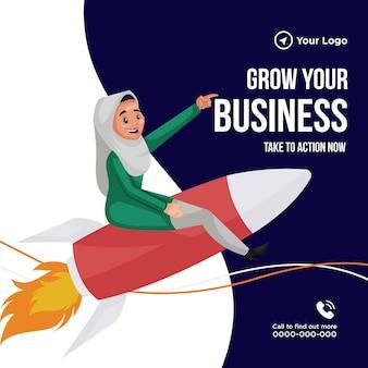 Il design del banner per far crescere la tua attività entra in azione ora