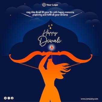Banner design di felice modello in stile cartone animato diwali
