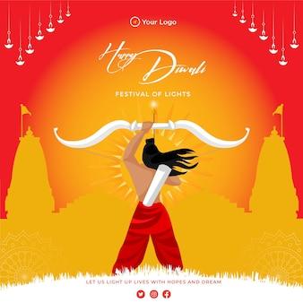Banner design di felice diwali festival delle luci modello in stile cartone animato