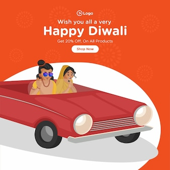 Banner design di felice diwali su tutti i prodotti