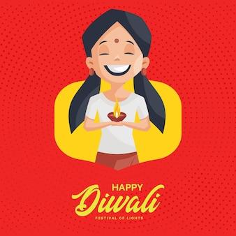 Banner design di diwali felice con ragazza che tiene una lampada in mano lamp