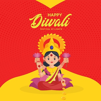 Banner design di diwali felice con la dea durga