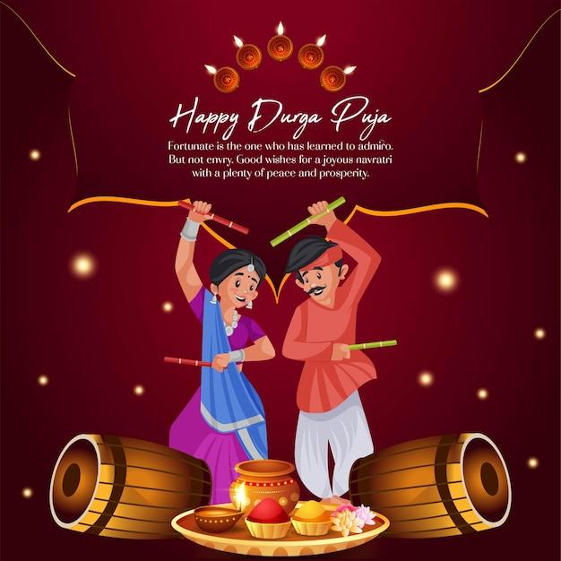 Banner design del modello di stile cartone animato felice durga pooja