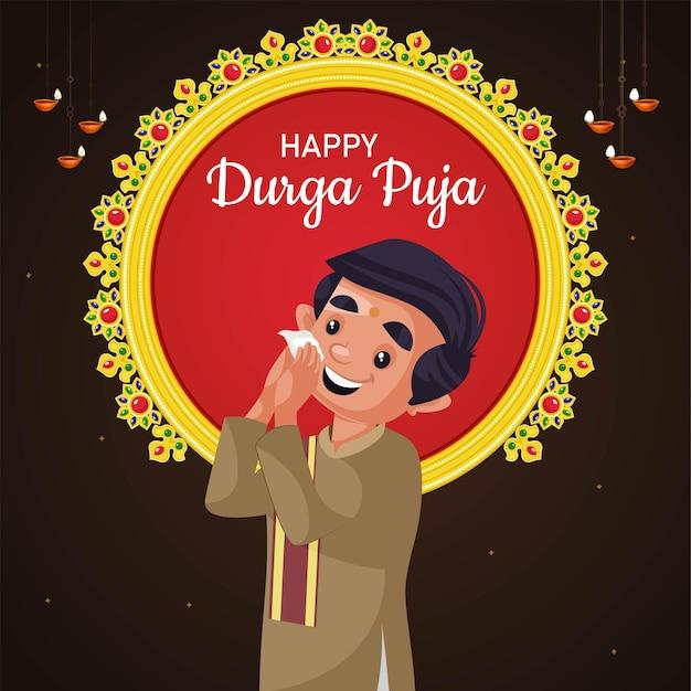 Banner design del modello happy durga puja