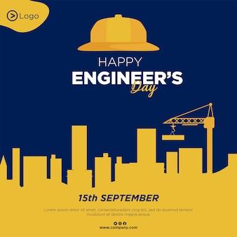 Banner design del modello di stile cartone animato felice giorno degli ingegneri Vettore Premium