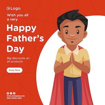 Banner design di felice giorno di padri sconto su tutti i prodotti piatto di squadra in stile cartone animato illustrazione grafica vettoriale
